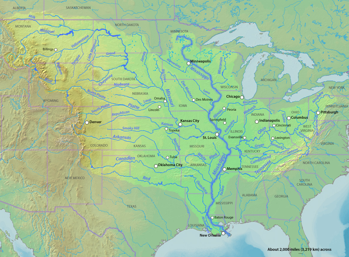 Extent of the Mississippi River watershed. Image courtesy of user