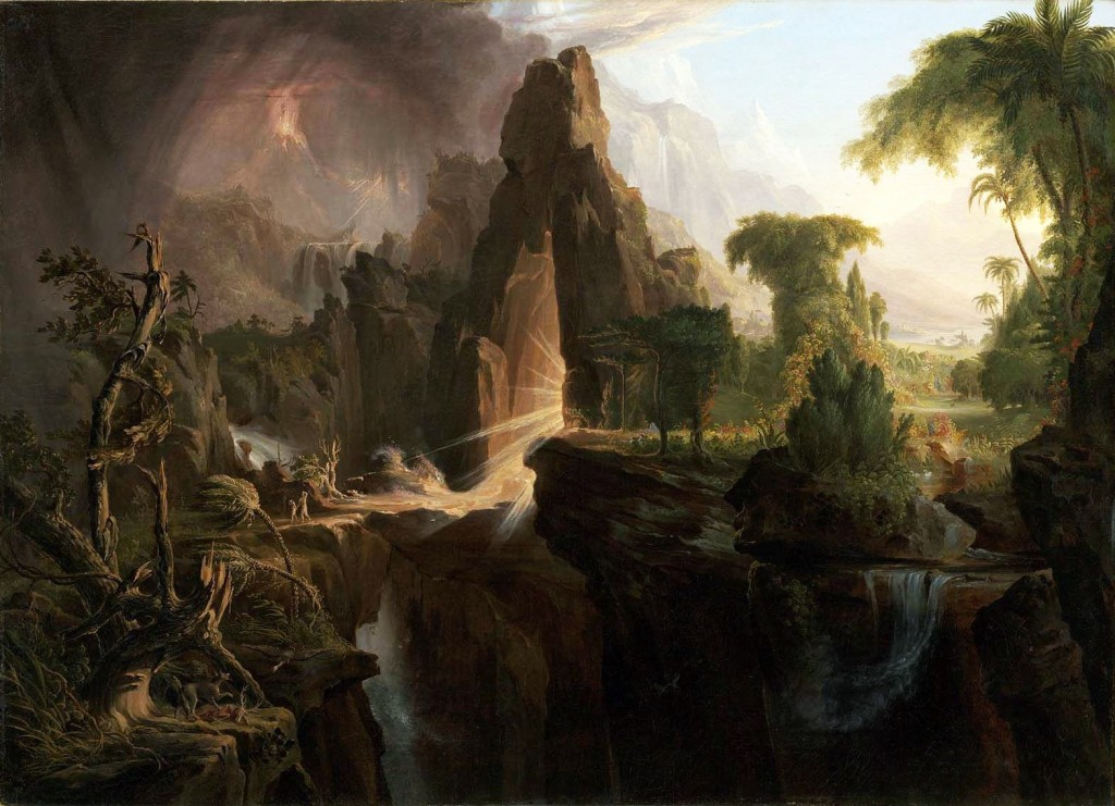 "Nature-separation anxiety? Thomas Cole, ""Expulsion from the Garden of Eden,"" 1828."
