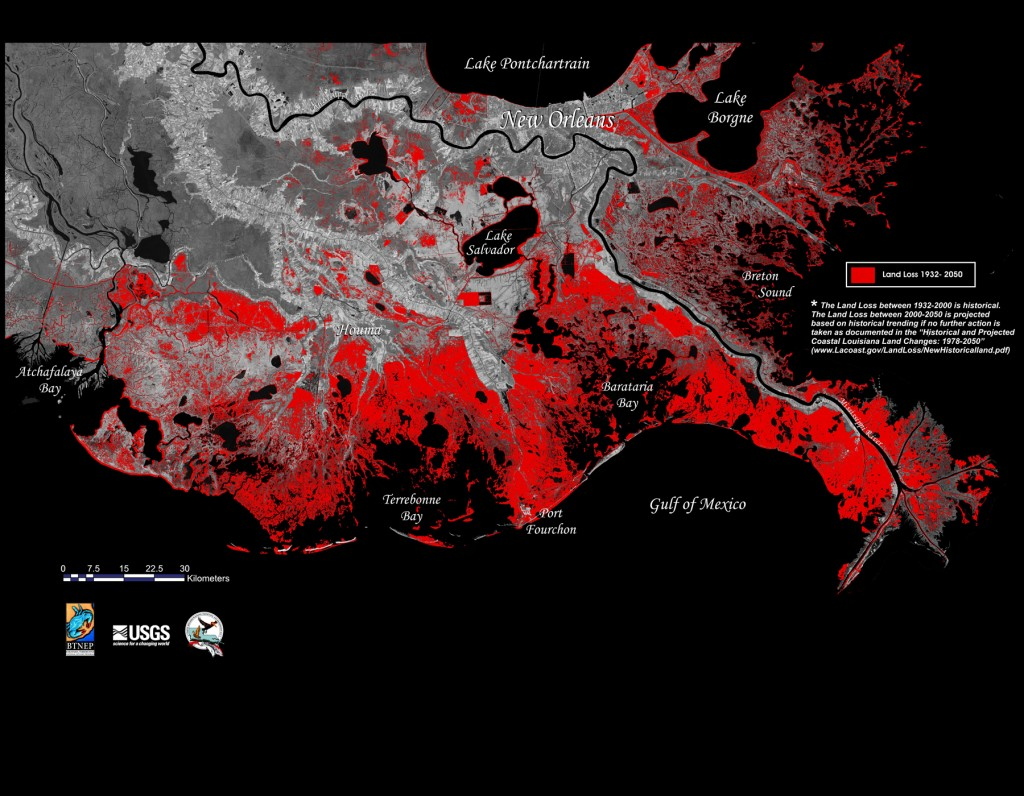 Land loss in Louisiana, 1932-2050